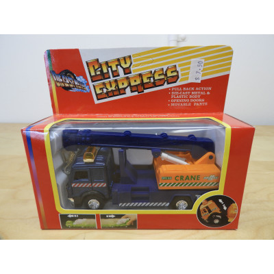 CITY EXPRESS, Die-Cast Metal CRANE, TRUCK - Blue