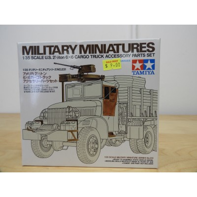 TAMIYA, MILITARY MINIATURES, US 2.5 TON, CARGO TRUCK ACCESSORY PART SET, 1/35 SCALE, ITEM NO: 35231