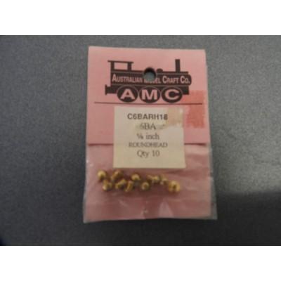 AMC, C6BARH18, 6BA 1/8 INCH ROUND HEAD, QTY 10