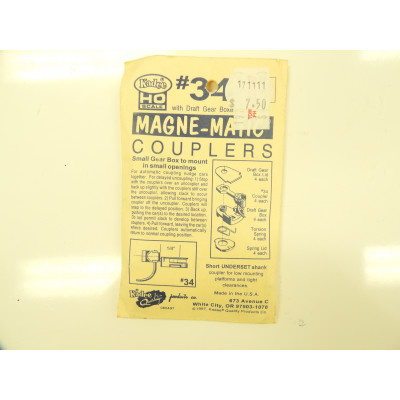Kadee, , HO Scale, with draft gear boxes, 2 pair Magne - Matic Coupler, No 34