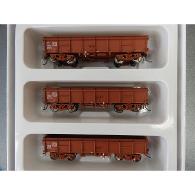 Eureka Models, NOEF Open Wagon Pack G - Red, ROLLING STOCK, HO Scale, 3 Pack