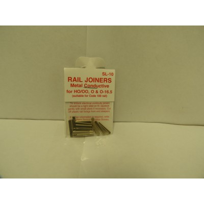 PECO, SL-10, RAIL JOINERS Metal Conductive for HO/OO, O & O-16.5 (suitable for Code 100 rail)