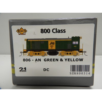 SDS Models, 800 Class Locomotive, HO Scale, 806 - AN GREEN & YELLOW, DC