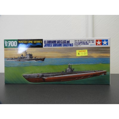 TAMIYA, WATER LINE SERIES U.S. SUBMARINE GATO CLASS & JAPANESE SUBMARINE CHASER No.13, Plastic Boat Kit, Scale 1/700, ITEM 31903