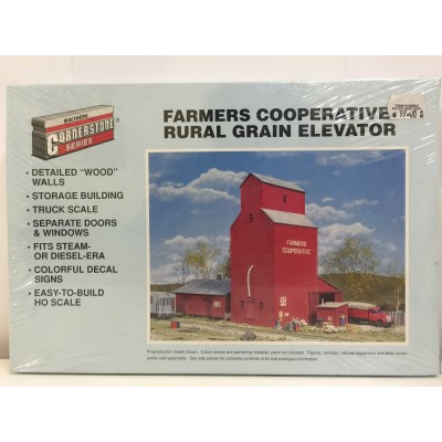 WALTHERS CORNERSTONE SERIES, FARMERS COOPERATIVE RURAL GRAIN ELEVATOR, HO SCALE, KIT, 933-3036