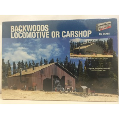 WALTHERS CORNERSTONE SERIES, BACKWOODS LOCOMOTIVE OR CARSHOP, HO SCALE, STRUCTURE KIT, 933-3083